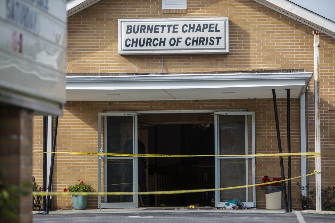 The church where a gunman opened fire Sunday, killing a woman and injuring seven others before killing himself. (Getty Images)