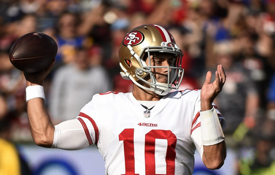 Quarterback Jimmy Garoppolo #10 of the San Francisco 49ers throws a pass Los Angeles Rams  during the first quarter at Los Angeles Memorial Coliseum on December 31, 2017 in Los Angeles, California. (Photo by Kevork Djansezian/Getty Images)
