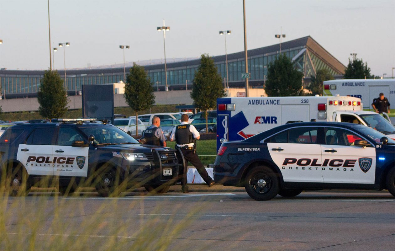Cheektowaga Police investigate a deadly hit-and-run crash in front of the Buffalo-Niagara International Airport during the early morning hours of August 8. 2017. (Jim Herr/Special to the Buffalo News)