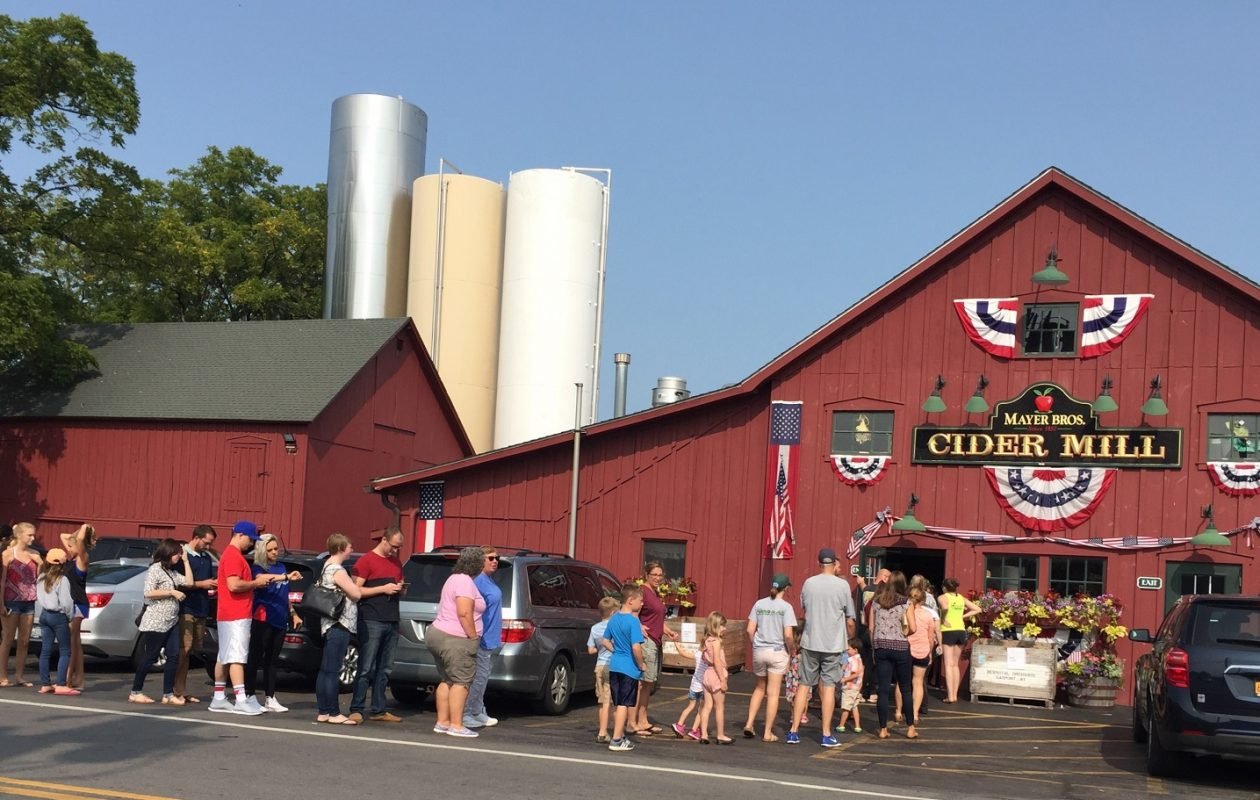 Customers, many decked out in Bills gear, line up on a Sunday morning for fresh donuts at Mayer Bros. Cider Mill. (Elizabeth Carey/Special to The News.)