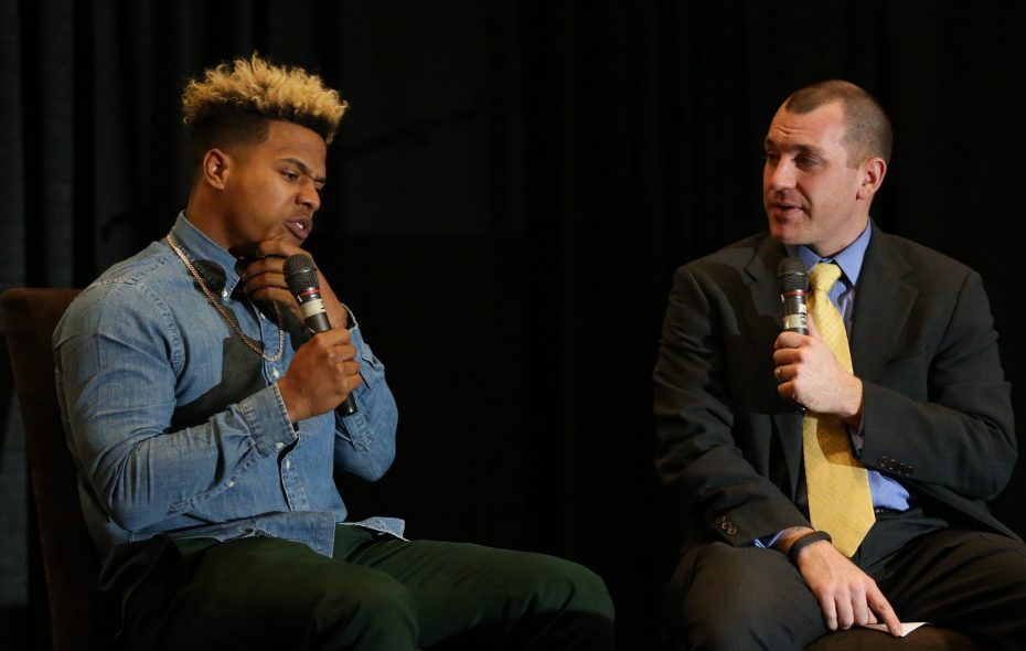 Ben Wagner, right, interviewing Blue Jays pitcher Marcus Stroman during a 2016 Jays Caravan visit to Buffalo, is joining the Toronto broadcast crew for two games (Buffalo News file photo).