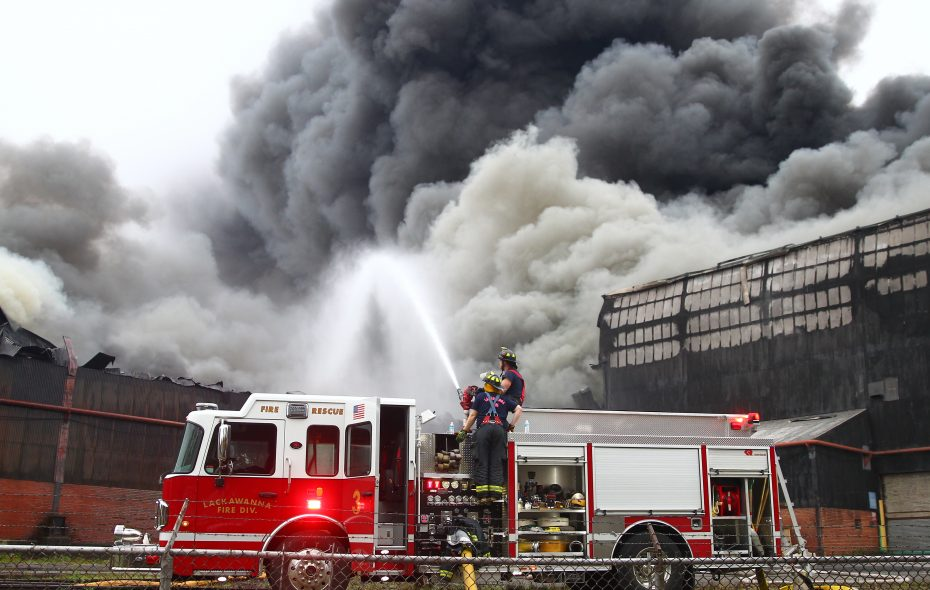 Lackawanna firefighters battle a fire at the former Bethlehem Steel site on Route 5 in Lackawanna, N.Y., on Nov. 9, 2016. (John Hickey/Buffalo News)