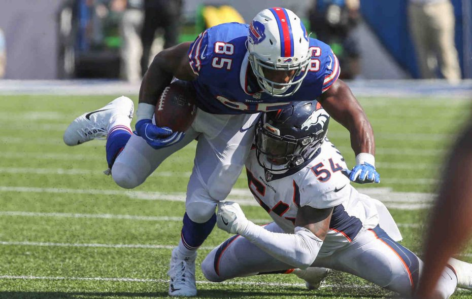 Buffalo Bills tight end Charles Clay (85) is tackled by Denver Broncos linebacker Brandon Marshall (54) in the second quarter at New Era Field in Orchard Park N.Y. on Sunday, Sept. 24, 2017.  (James P. McCoy / Buffalo News)