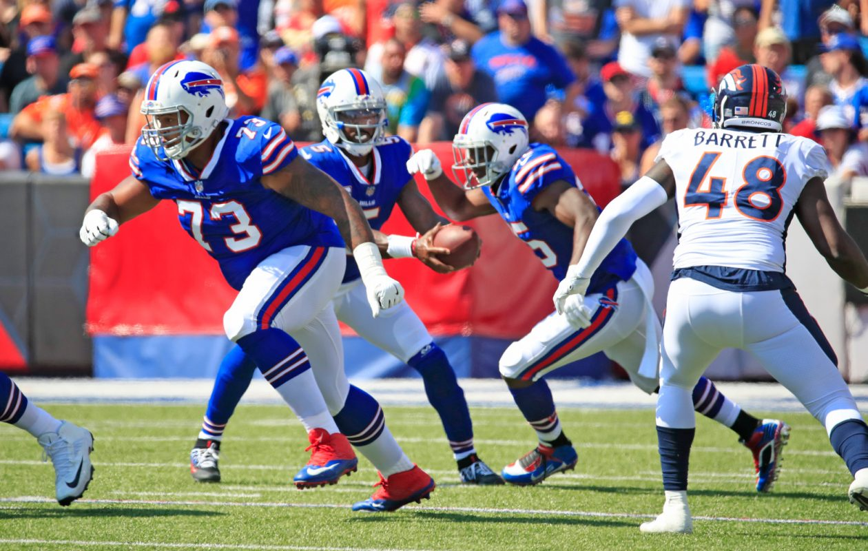 Buffalo Bills left tackle Dion Dawkins (73) took every snap in place of the injured Cordy Glenn on Sunday against Denver.  (Harry Scull Jr./ Buffalo News)