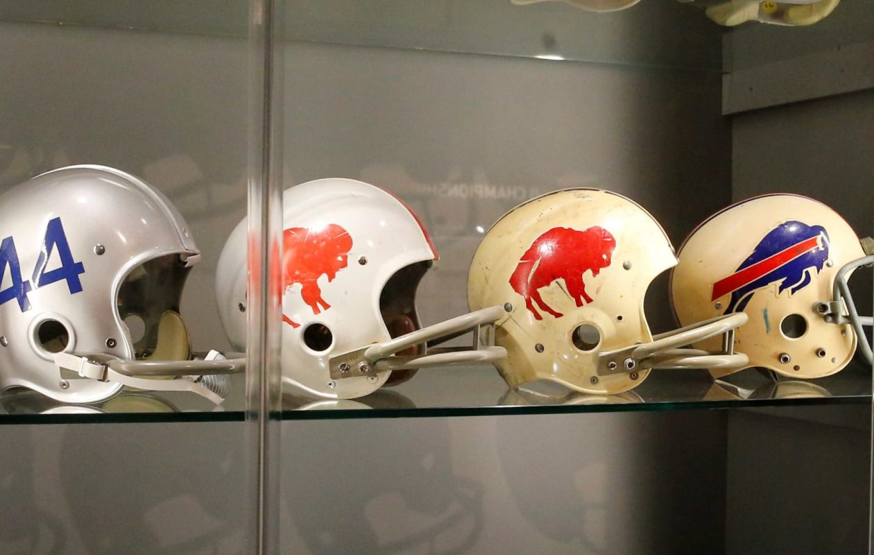 Buffalo Bills helmets throughout the years were featured in an exhibit in the 'Hall of Honor' at Arrowhead Stadium in Kansas City, Mo., in August 2014. (Derek Gee/Buffalo News file photo)