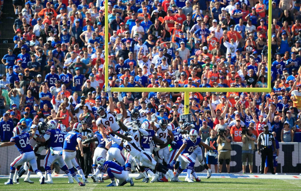 Bills kicker Stephen Hauschka watches as his 53-yard field goal sails through the uprights in the fourth quarter Sunday. (Harry Scull Jr./Buffalo News)