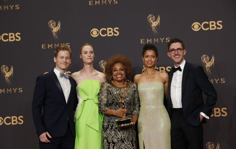 """Billy Griffin Jr. of South Buffalo, far right, was part of the cast of the show """"Black Mirror"""" which won the Emmy for Outstanding Television Movie. (Allen J. Schaben/Los Angeles Times/TNS)"""