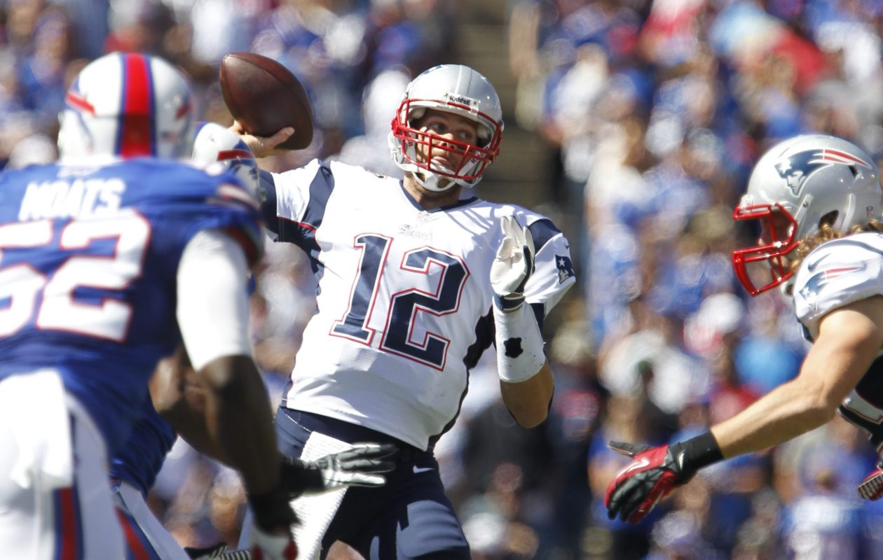 New Enlgand Patriots quarterback Tom Brady throws the ball at the Sept. 8, 2013, game against the Buffalo Bills at what was then Ralph Wilson Stadium in Orchard Park. (Harry Scull Jr./News file photo)