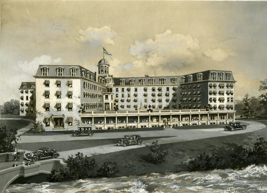 This image of the Cataract House dates from the 1920s or 1930s. It shows the grand hotel's location at the rapids. (Image Courtesy of the Niagara Falls Public Library)