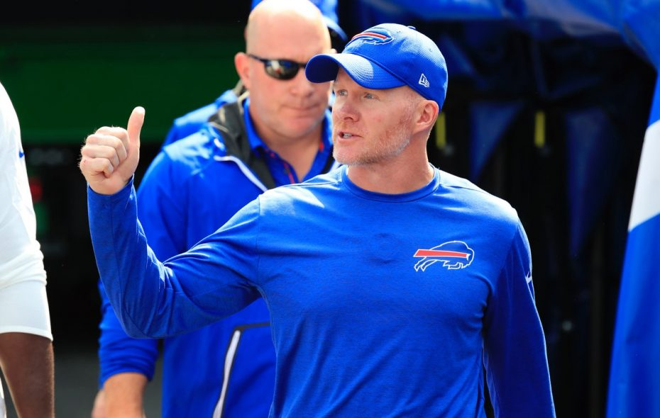Bills coach Sean McDermott gives fans a thumbs-up before his first game as head coach Sept. 10, 2017. (Harry Scull Jr./News file photo)
