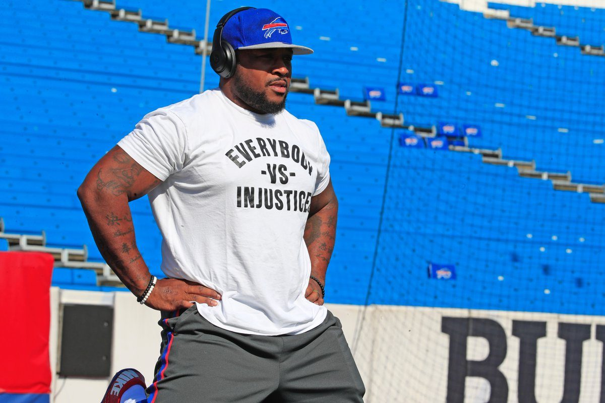 Mike Tolbert warms up prior to the Buffalo Bills' home game against the Denver Broncos. (Harry Scull Jr./Buffalo News)