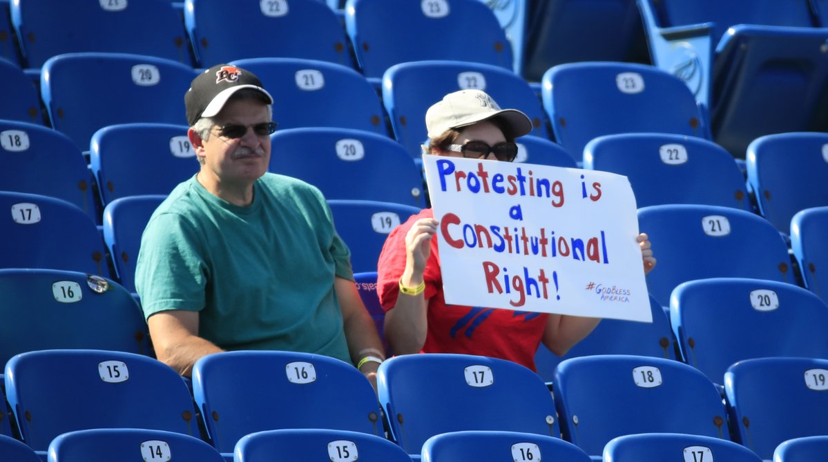 A fan displays her thoughts prior to Bills vs. Broncos game on Sept. 24, 2017, in New Era Field. (Harry Scull Jr./Buffalo News)