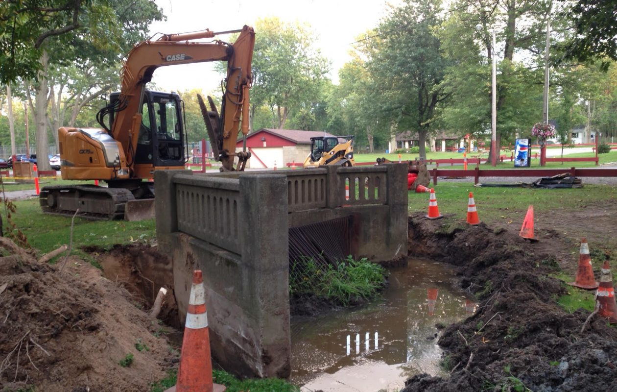 Work is underway at Evans Town Park on a more than $172,000 project to improve drainage near the town's beach on Lake Shore Road. (T.J. Pignataro/Buffalo News)
