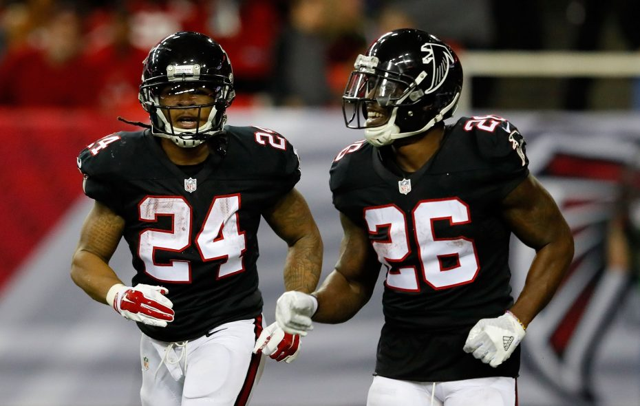 Devonta Freeman, left, and Tevin Coleman of the Atlanta Falcons are one of the most explosive running back combinations in the NFL. (Kevin C. Cox/Getty Images)