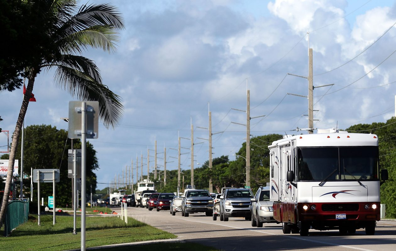 A steady line of cars head north on Overseas Highway as people  continue to evacuate ahead of Hurricane Irma on Sept. 7, 2017 in Islamorada, Fla. Over 35,000 people have evacuated the Florida Keys ahead of Hurricane Irma, a powerful storm churning in the Atlantic and expected to make landfall this weekend.  (Getty Images)