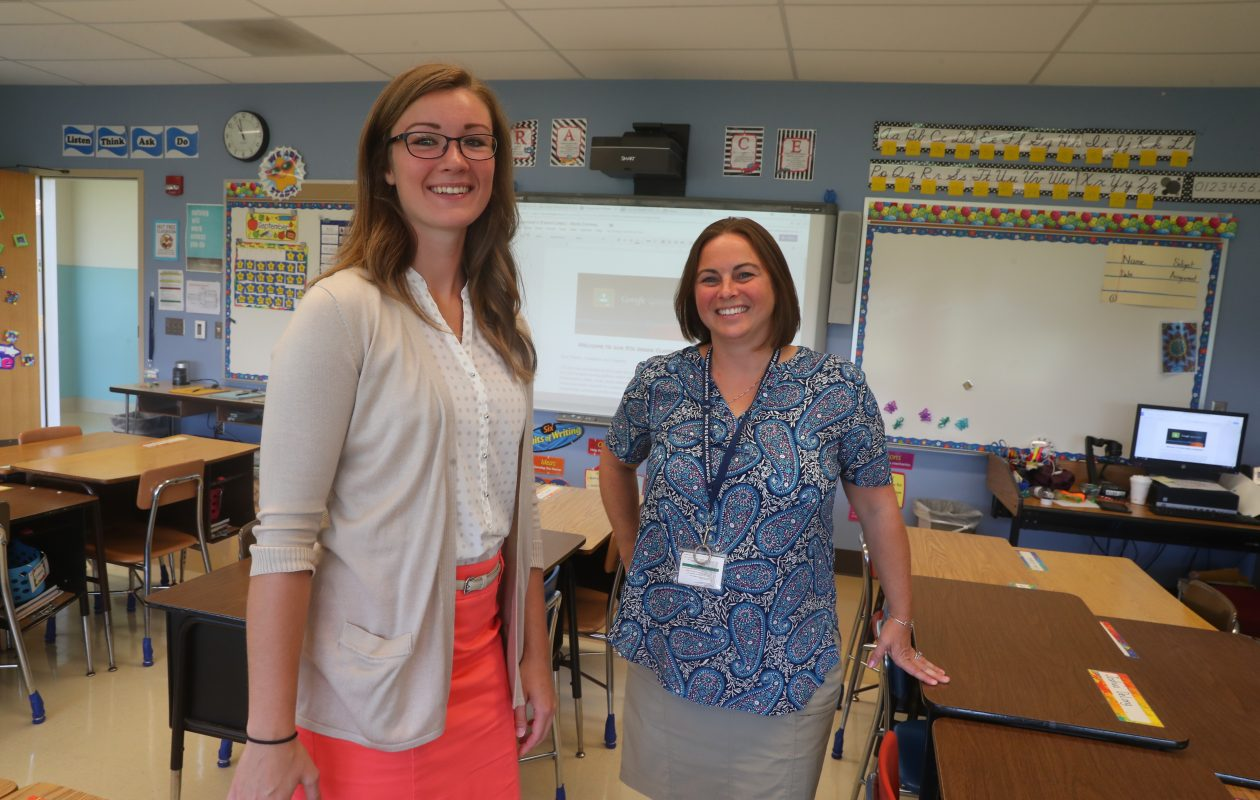 'At the end of the day, I really wanted to be in Grand Island,' says Paige Rockwood, left, who will co-teach this school year in the Grand Island district with Casey Steck-Comeau at William Kaegebein Elementary School. (John Hickey/Buffalo News)