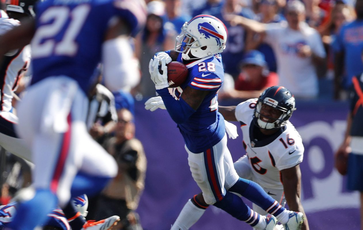 E.J. Gaines intercepts a pass on Denver's Bennie Fowler III during the third quarter at New Era Field in Orchard Park on Sunday, Sept. 24, 2017.  (Mark Mulville/Buffalo News)