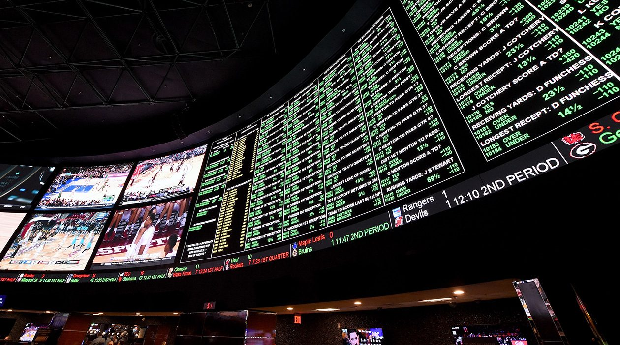 The betting line and some of the nearly 400 proposition bets for Super Bowl 50 between the Carolina Panthers and the Denver Broncos in 2016 at a Las Vegas casino. (Ethan Miller/Getty Images file photo)