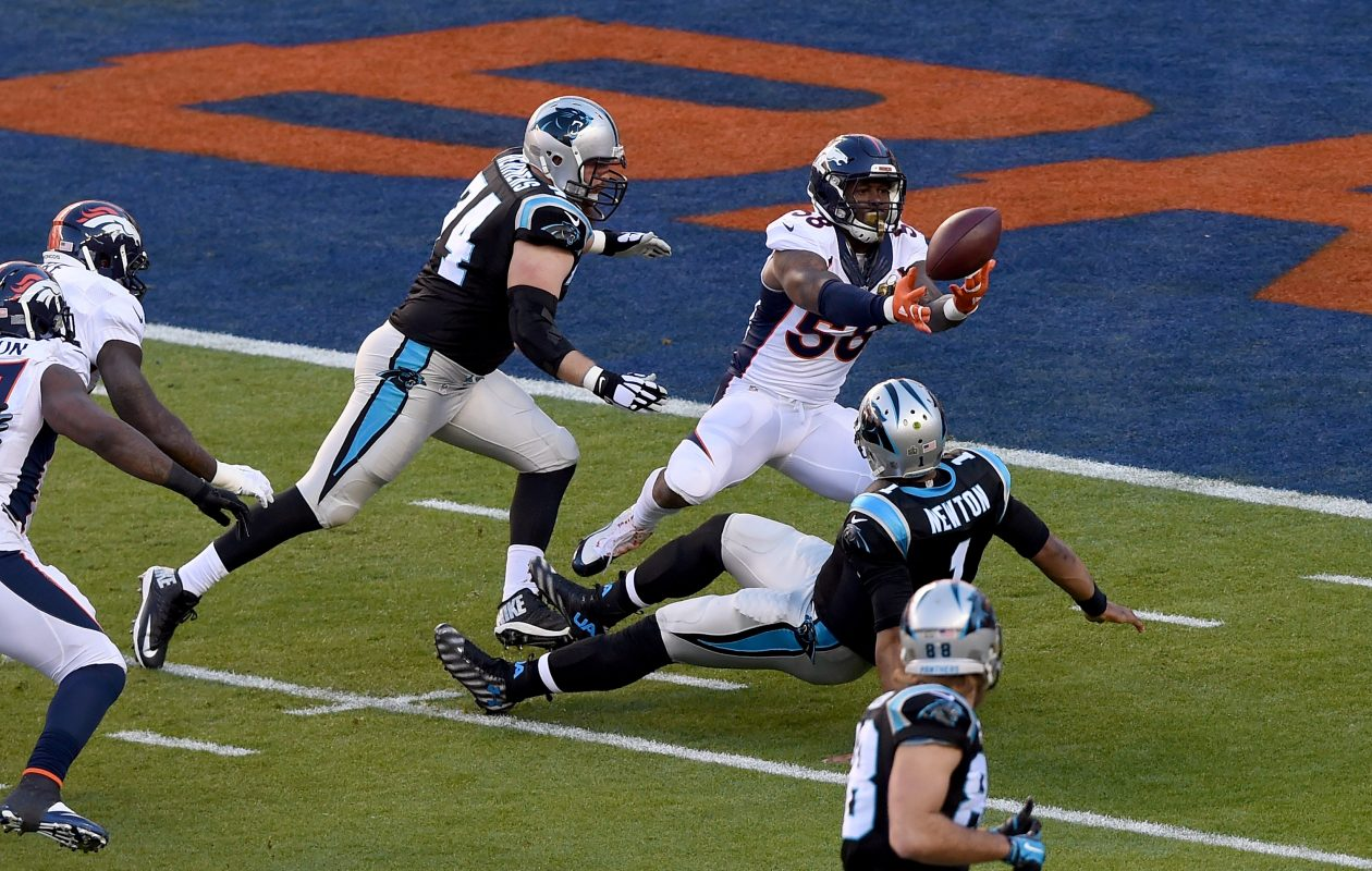 Von Miller sacks Cam Newton to force a fumble and a TD in Super Bowl 50. (Chearon W. Henderson/Getty Images)