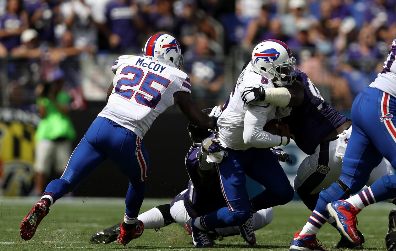 Bills running back LeSean McCoy couldn't find much running room in the 2016 season opener against Baltimore. (Getty Images)