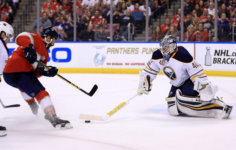 Much like this play against Florida's Vincent Trocheck last season, Sabres goalie Robin Lehner came out to challenge shooters Saturday. (Getty Images)