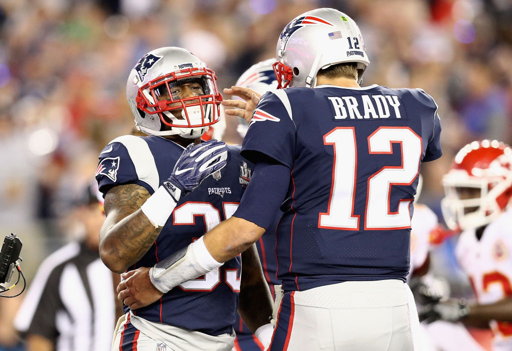 Patriots QB Tom Brady and RB Mike Gillislee celebrate a first-half touchdown in a loss to the Chiefs at Gillette Stadium on Sept. 7. (Getty Images)