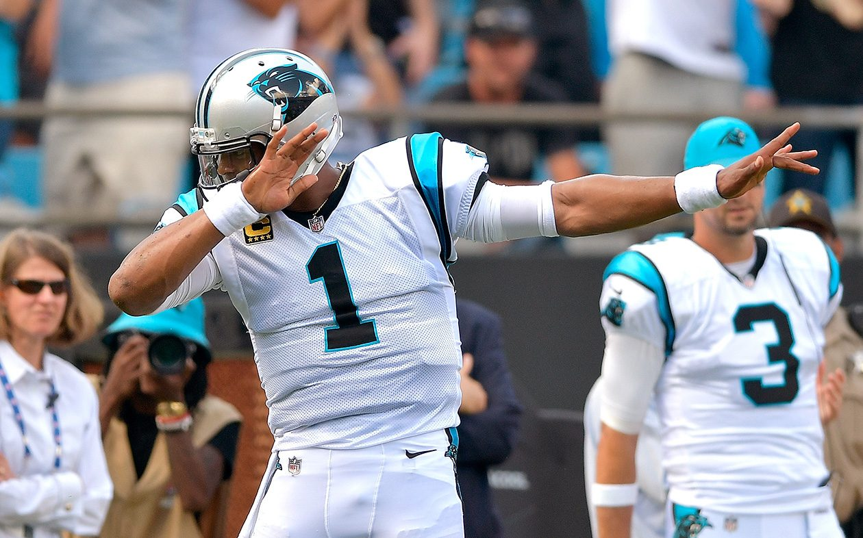Cam Newton of the Panthers reacts after running for a first down against the Bills on Sept. 17 in Charlotte, N.C. (Grant Halverson/Getty Images)