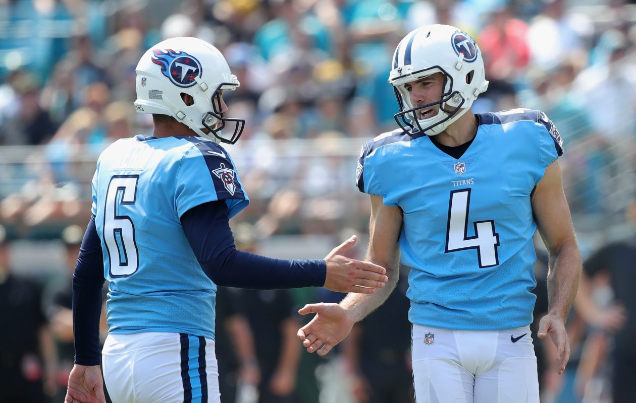 Titans kicker Ryan Succop  congratulates teammate Brett Kern (6) after a field goal Sunday. (Getty Images)