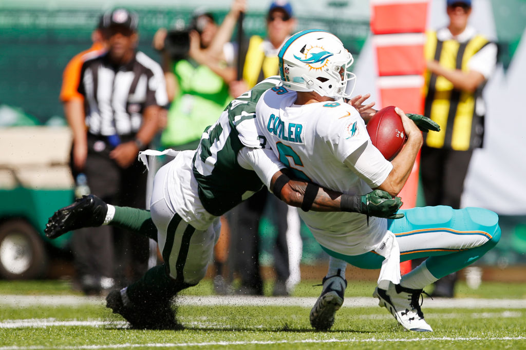 Jamal Adams of the New York Jets sacks Jay Cutler of the Miami Dolphins Sunday. (Getty Images)