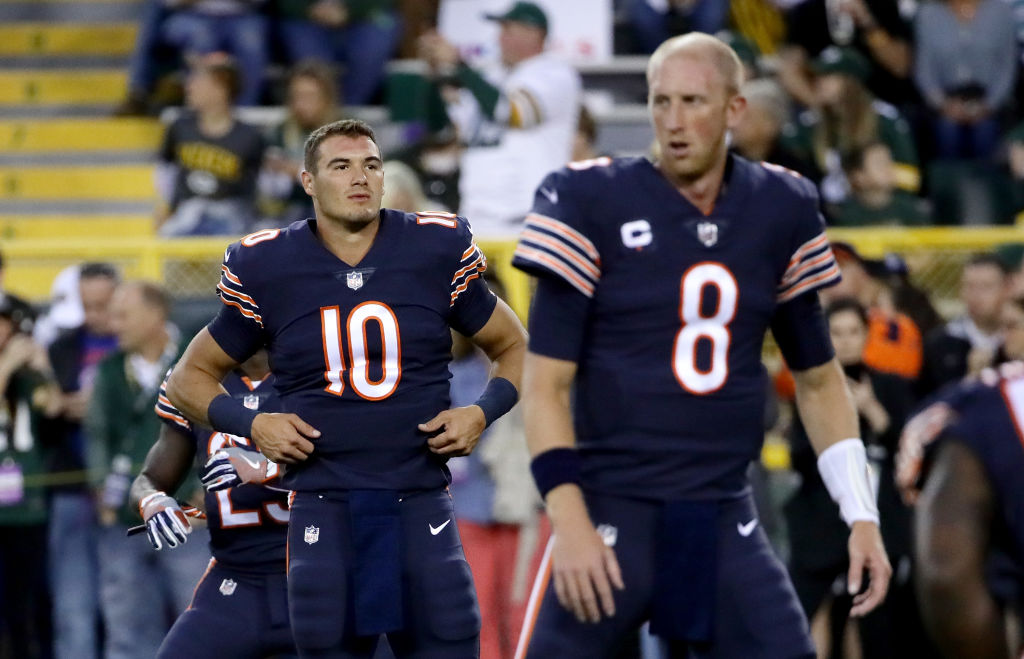 Mitch Trubisky looks on as Mike Glennon warms up at Lambeau Field on September 28, 2017 in Green Bay, Wisconsin. (Photo by Jonathan Daniel/Getty Images)