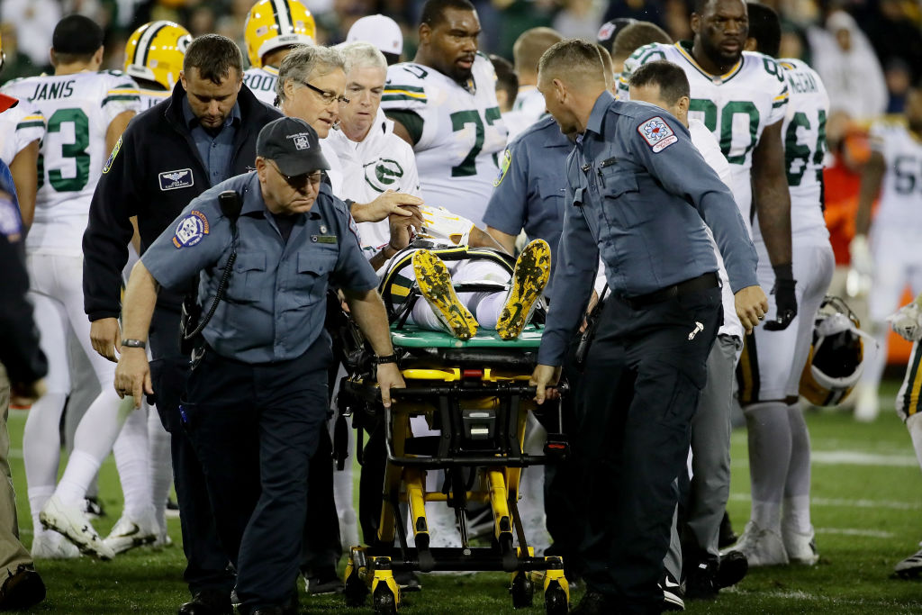 Packers WR Davonte Adams is stretchered off at Lambeau Field on September 28, 2017 in Green Bay, Wisconsin. (Photo by Jonathan Daniel/Getty Images)