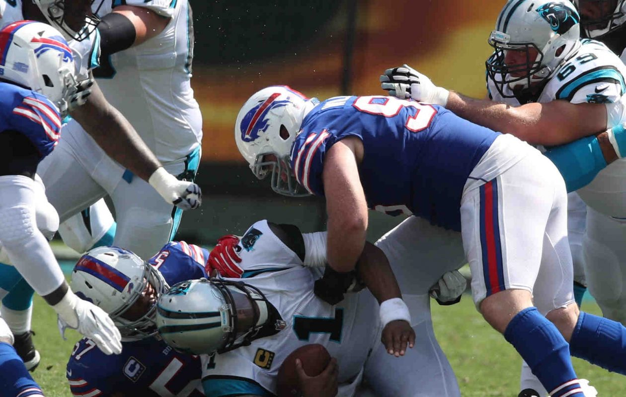 Bills outside linebacker Lorenzo Alexander (57) sacks Panthers quarterback Cam Newton with help from Kyle Williams (95) in the second quarter at Bank of America Stadium in Charlotte, N.C., on Sunday, Sept. 17, 2017. (James P. McCoy/Buffalo News)