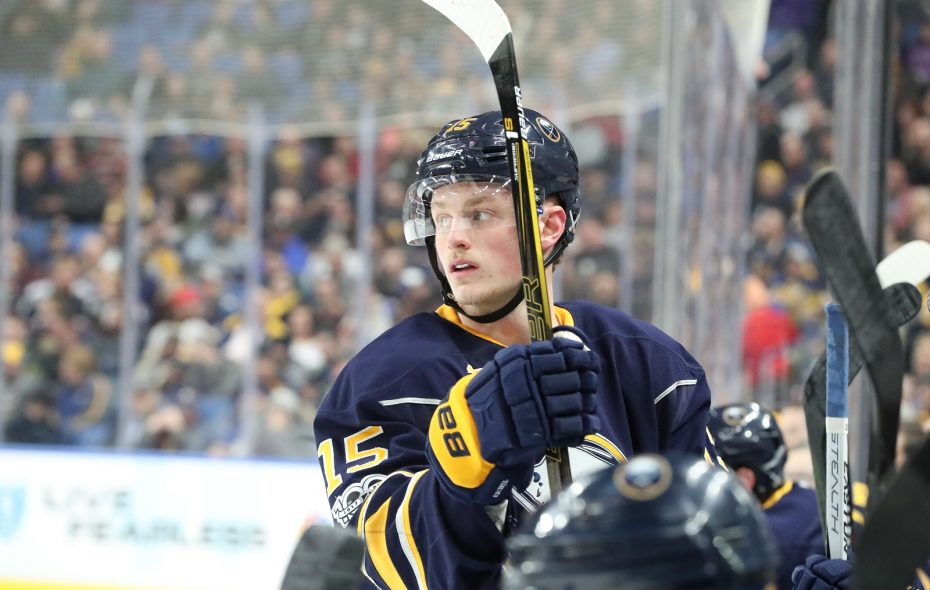 Jack Eichel left Saturday's game in Boston with a lower body injury. (James P. McCoy/News file photo)