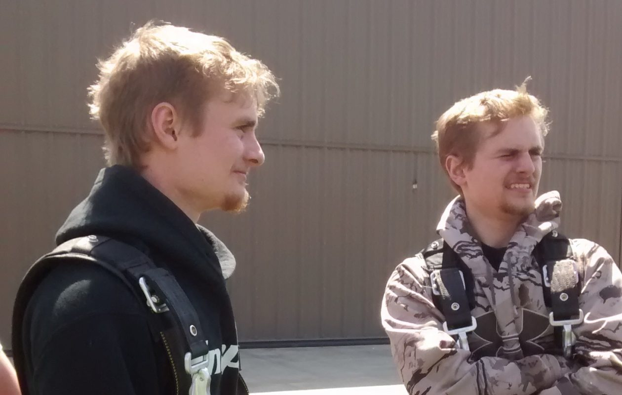 Jacob McCormick, 21, left, and his twin brother Nathaniel, wear skydiving gear in an undated family photo. Jacob was found dead in Lake Ontario on Tuesday, Sept. 5, 2017, near Point Breeze in Orleans County. He and his brother had been kayaking with a friend.