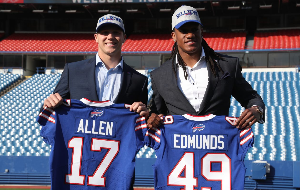 First-round draft picks Josh Allen and Tremaine Edmunds pose for the press at New Era Field. (James P. McCoy/Buffalo News)