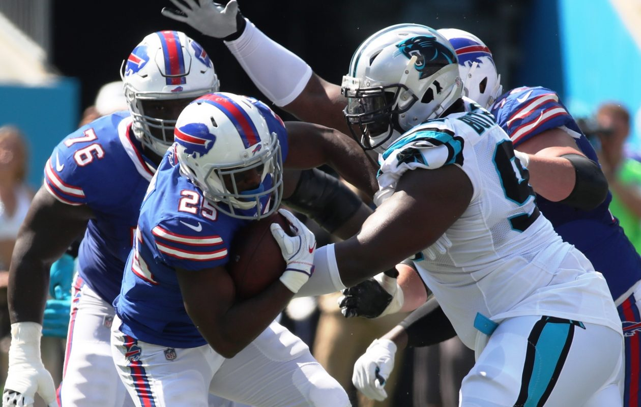 Buffalo Bills running back LeSean McCoy (25) is tackled for a loss by Carolina Panthers defensive tackle Vernon Butler (92) in the third quarter at Bank of America Stadium in Charlotte, N.C., on Sunday, Sept. 17, 2017.  (James P. McCoy / Buffalo News)