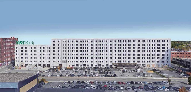 M&T Bank wants to erect a roof frame and 12-foot high illuminated sign on top of the sixth floor of the office and light industrial complex at 701 Seneca St.  (Buffalo Planning Board)