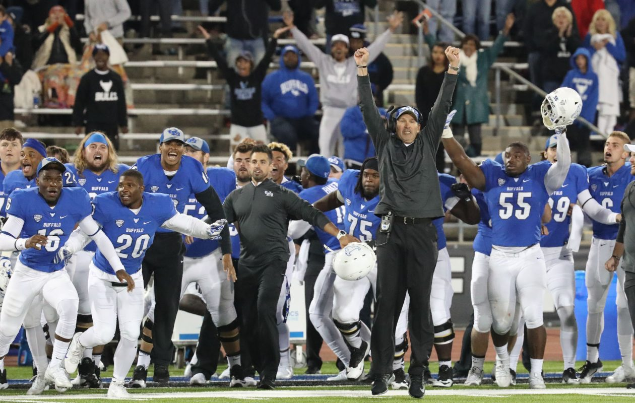 The celebration was on after UB rallied to beat Army in overtime at UB Stadium last year.  (James P. McCoy/Buffalo News)