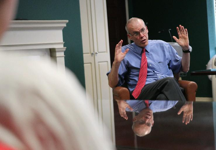 """Award-winning environmental activist Bill McKibben, who is in town for the Buffalo Humanities Festival this weekend, joined others to announce the """"100% Buffalo Campaign."""" (Buffalo News file photo)"""