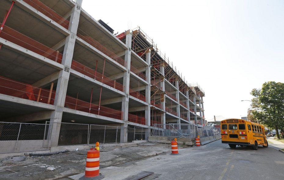 The new parking ramp behind Oishei Children's Hospital will have 1,825 parking spaces.  (Robert Kirkham/Buffalo News)