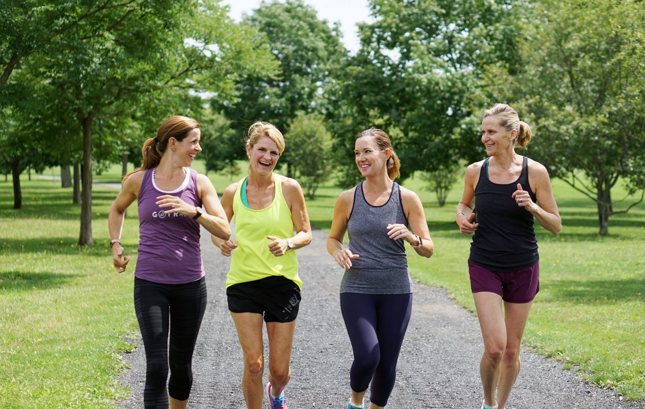 Meghan Cavanaugh, far left, combines social time and exercise via daily runs with friends Missy Dunn, Emily Wyckoff and Katie Joyce. (Dave Jarosz)