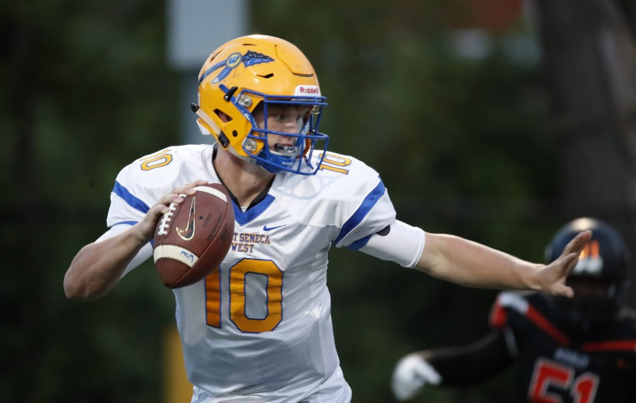 West Seneca West's Matt Myers has passed for 10 touchdowns and rushed for nine in helping the Indians get off to a 4-0 start. (Harry Scull Jr./Buffalo News)