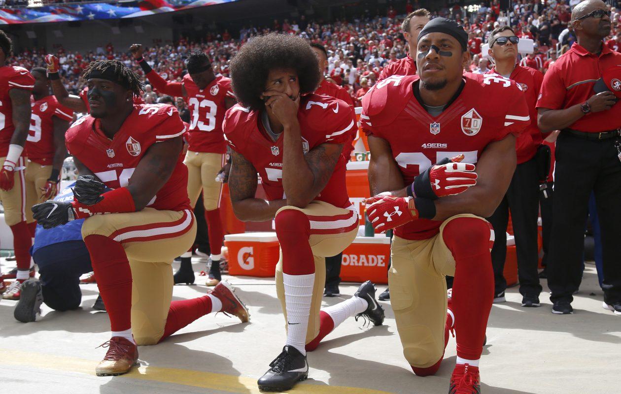 Colin Kaepernick kneels during the national anthem on Sunday, Oct. 2, 2016. (Nhat V. Meyer/Bay Area News Group/TNS)