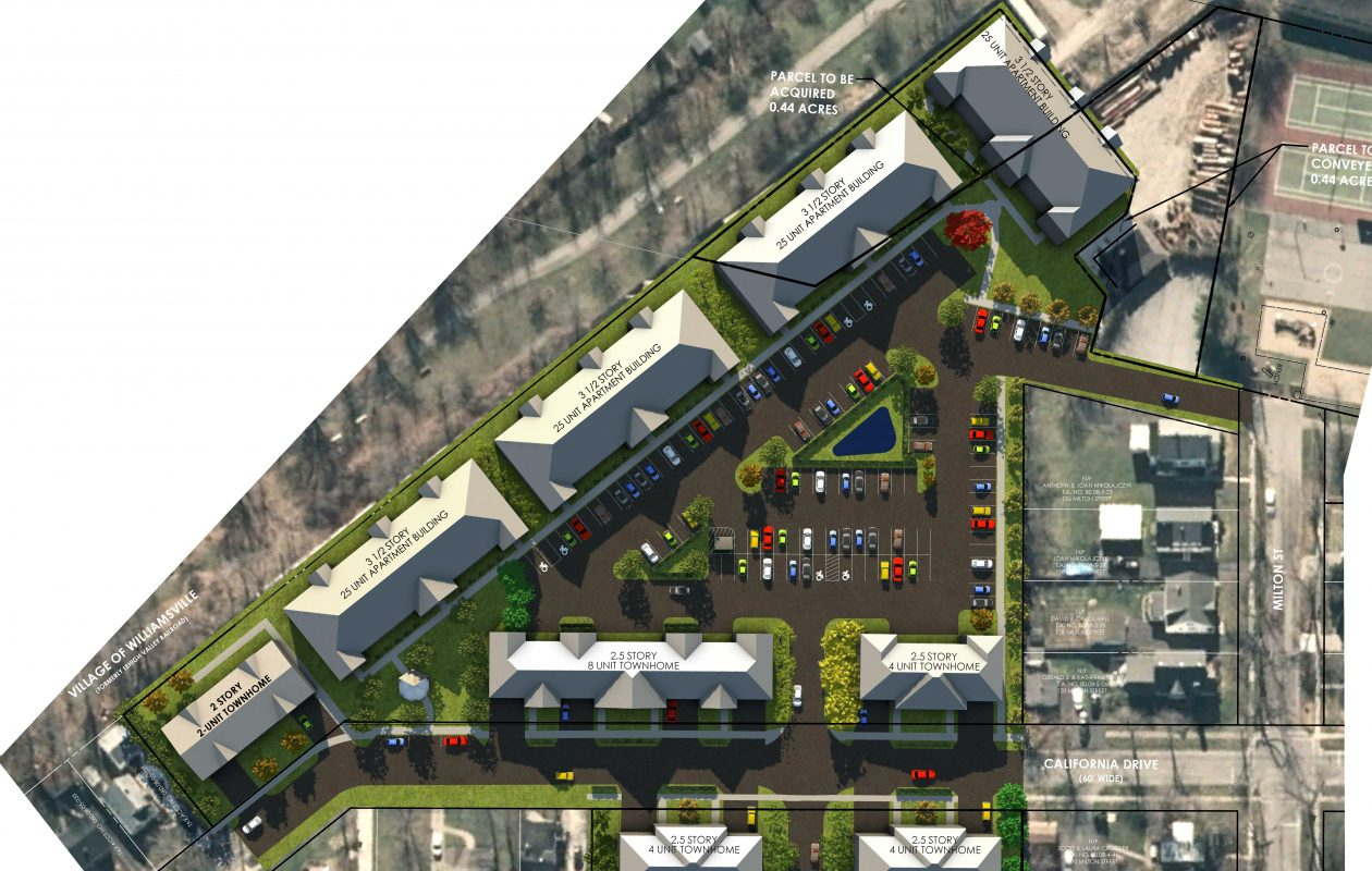 The latest rendering of a proposed Natale Development housing complex off California Drive in the Village of Williamsville.  (Provided by Natale Development)