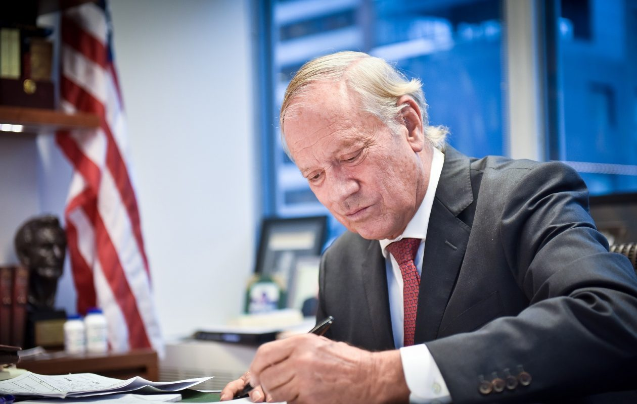 Former Gov. George Pataki in his Manhattan  office at Norton Rose Fulbright, a law firm.   (Photo by David Handschuh)
