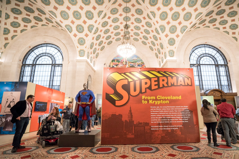 A Superman figure wears the costume worn by Brandon Routh in 'Superman Returns.' (Photo by Cleveland Public Library)