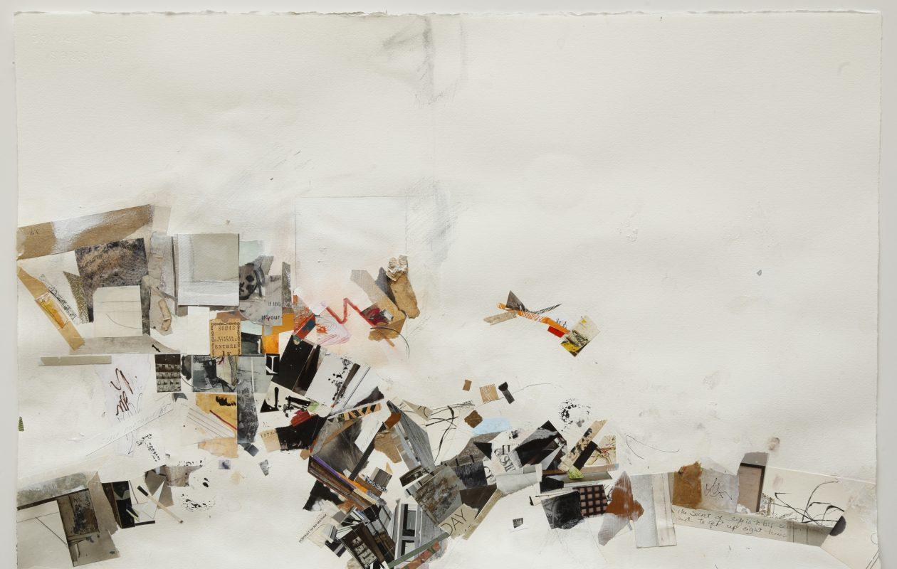 'Meanderings #4,' a mixed-media collage by Terri Katz Kasimov, is on view in Eleven Twenty Projects through Oct. 28.