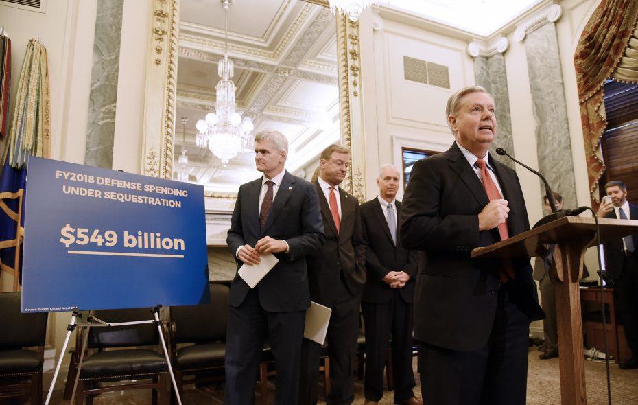 U.S. Sen. Lindsey Graham (R-S.C.) speaks as Sen. Bill Cassidy (R-La.), Sen. Dean Heller (R-Nev.), Sen. Ron Johnson (R-Wis.) listen during a news conference on health care . (TNS file photo)