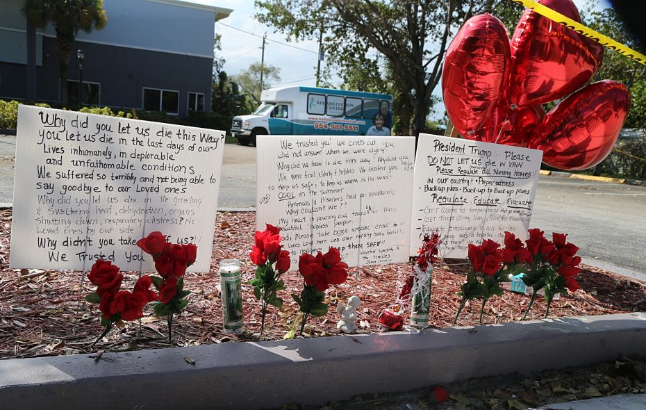 Messages left on the sidewalk of the Rehabilitation Center of Hollywood Hills nursing home a day after eight people died at the nursing home, as a criminal investigation by local agencies continued into how the rehab center allowed patients to stay without a working air conditioning system during the passing of Hurricane Irma through South Florida, on Thursday, Sept. 14, 2017. (Pedro Portal/El Nuevo Herald/TNS)