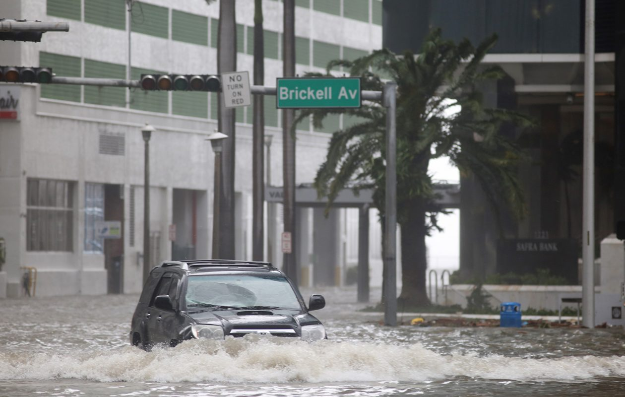 Brickell Avenue in Miami was flooded after Hurricane Irma on Sunday, Sept. 10, 2017. (Mike Stocker/Sun Sentinel/TNS)